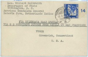 93725 - DUTCH INDIES Indonesia - POSTAL HISTORY - Sea Mail COVER 1940  to USA
