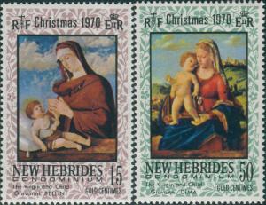 New Hebrides 1970 SG145-146 Christmas set MLH