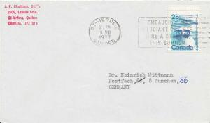 Canada 25c Polar Bears Landscapes 1977 St-Jerome, Quebec Airmail to Munich, G...