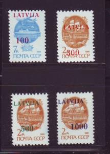 Latvia Sc 308-11 1991 Russian stamps ovptd LATVIJA NH