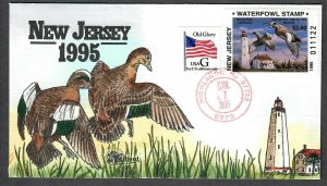 1995 New Jersey State Duck stamp Hand Painted Milford, Collins Cachet FDC