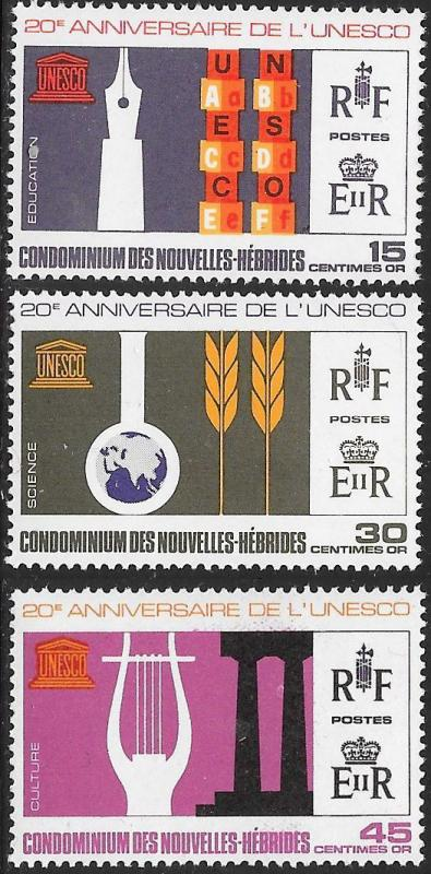 New Herbrides (French) 136-138 MNH - UNESCO Anniversary
