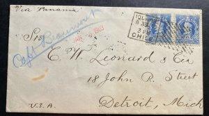 1902 Chile Cover To Detroit MI USA Via Panama