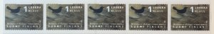 Finland 1066 Bird  MNH Coil strip of 5 SCV  $10.00 Priced to Sell!