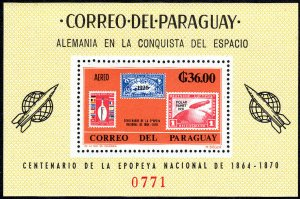 Paraguay 950a S/S, MNH. German Contribution in Space Research, 1966