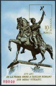 Romania 2574,MNH.Michel 3292 Bl.126. Michael the Brave,statue,1975.