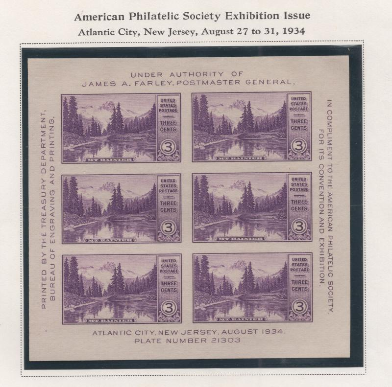 United States US 1934 APS Imperf Souvenir Sheet 6 Stamps Scott 750 MNH