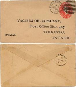 Canada USC #U13d 2c 0n 3c Postal Stat. Env. Used at Belleville, Ont./4/My 12/99