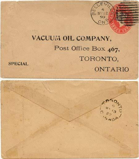 Canada USC #U13d 2c 0n 3c Postal Stat. Env. Used at Belleville, Ont./4/My 12/99