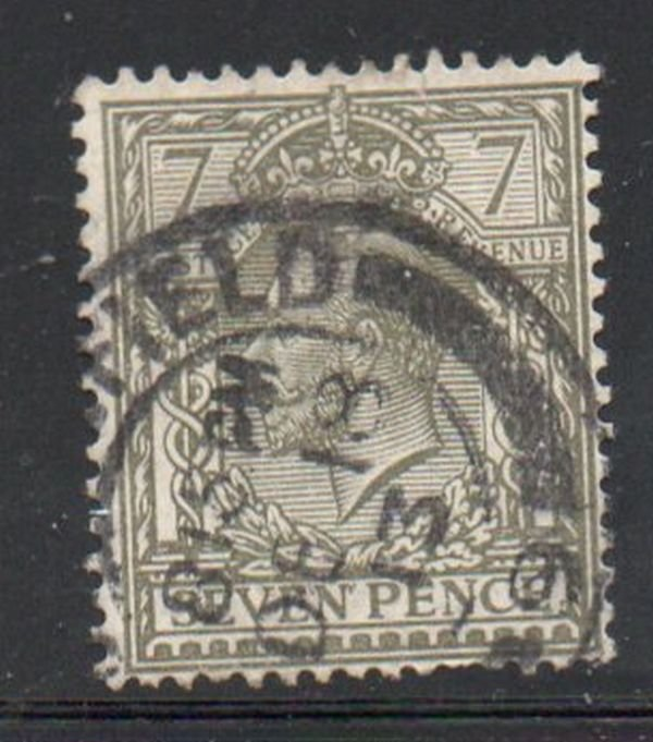 Great Britain Sc 168 1913 7d olive green George V stamp used