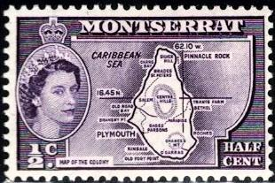 Map of the Colony, Montserrat stamp SC#146 Mint