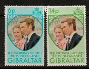 GIBRALTAR SG323/4 1973 ROYAL WEDDING MNH