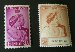 Nigeria: 1948 Royal Silver Wedding, Very lightly mounted, Mint.