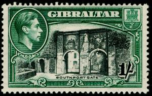 GIBRALTAR SG127a, 1s black & green PERF 13½, M MINT. Cat £75.