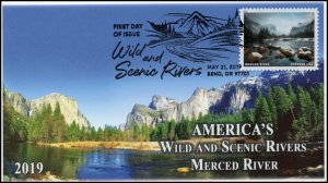 19-112, 2019, Wild and Scenic Rivers, Pictorial Postmark, FDC, Merced River
