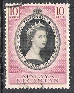 Kelantan #71 Coronation Issue Used
