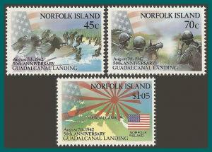 Norfolk Island 1992 Guadalcanal, MNH  #526-528,SG534-SG536
