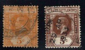 Straits Settlements Scott 186-187 Used 5c  stamps