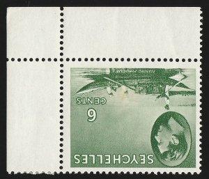 SEYCHELLES 1938 KGVI Fishing Boat 6c, ERROR wmk script INVERTED. MNH **