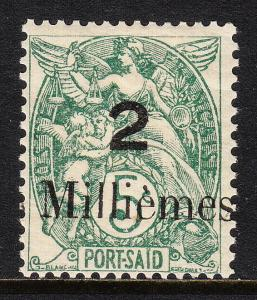 FRENCH OFFICES (PORT SAID) — SCOTT 33 — 1921 20m ON 5c SURCHARGE— MH —SCV $10.00