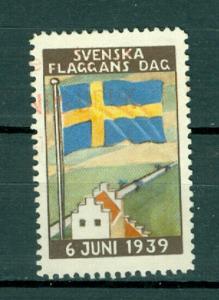 Sweden Poster Stamp 1939. National Day June 6. Swedish Flag.Red Cancel Nesbruk