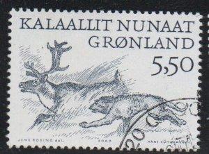 Greenland Sc 360 2000 5.5 kr Dog Chasing Reindeer stamp used