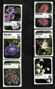 Netherlands Antilles-Sc#538-43-unused NH set-Flowers-Flora-1985-
