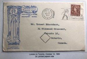 1960 London England Joseph Williams Publishers Cover To Toronto Canada