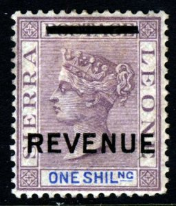 SIERRA LEONE QV 1890 One Shilling Mauve & Blue Overptd REVENUE Wmk Crown CA MINT