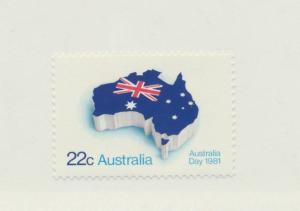 Australia Scott #771, Mint Never Hinged MNH, Flag and Map, Australia Day Issu...