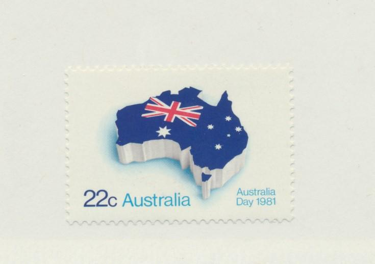 Australia Scott #771, Mint Never Hinged MNH, Flag and Map, Australia Day Issu...