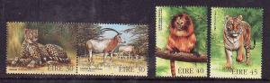 Ireland-Sc#1153-6-unused NH set-Endangered Animals-Cheetah,Lion-Tiger-Oryx-1998-