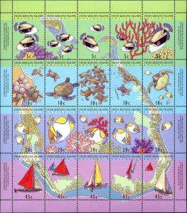 Cocos Islands #292f, Complete Set Sheet of 20, Never Hinged