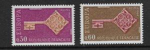 FRANCE - EUROPA 1968 - SCOTT 1209 TO 1210 - MNH