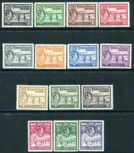TURKS & CAICOS ISLANDS-1938-45 Set to 10/-  Sg 194-205 MOUNTED MINT V30167