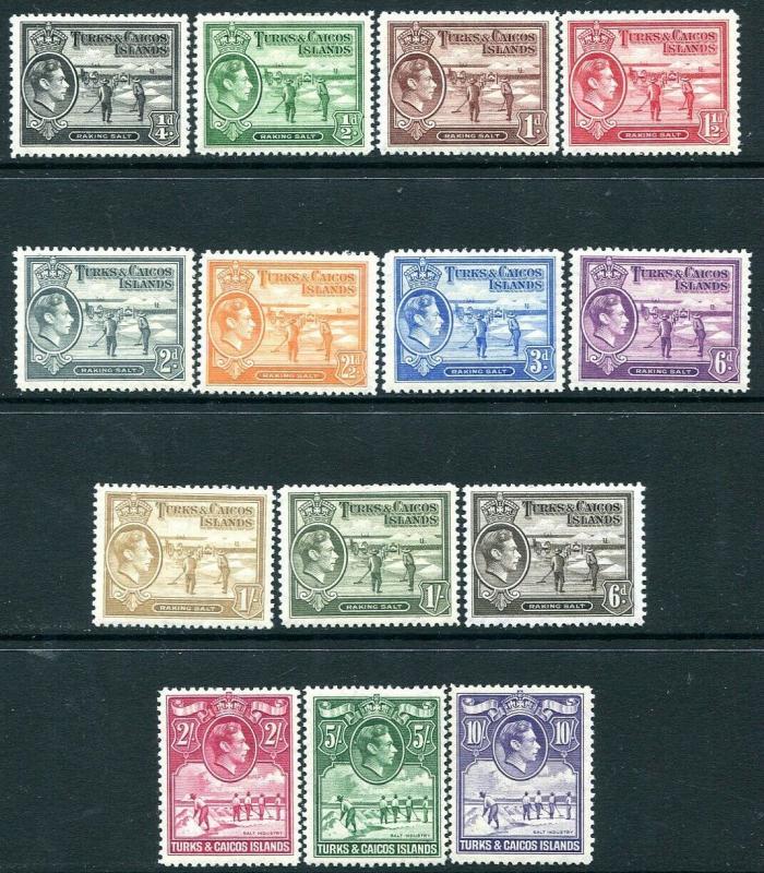 TURKS & CAICOS ISLANDS-1938-45 Set to 10/-  Sg 194-205 MOUNTED MINT V30167