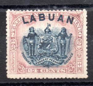 Labuan 1897 24c Arms fine used P14 WS2352