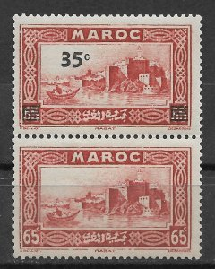 French Morocco 1940, Surcharged Pair Scott # 176a, VF-XF MLH*OG (FR-1)
