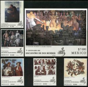 MEXICO 1726-1731 GRANADA'92 PHILATELIC EXHIBITION INCL SOUVENIR SHEET. MNH