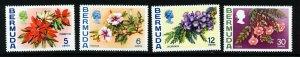 BERMUDA 1974 Flowers Wmk Block Crown CA Upright Set SG 303 to SG 306 MINT