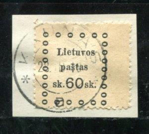 x361 - LITHUANIA 1910s REVENUE Stamp - Kaunas Cancel - 60 sk on piece