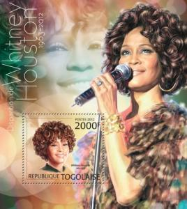 Togo MNH S/S Whitney Houston Singer 2012