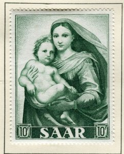 SAARLAND; 1954 early Marian Year issue fine Mint hinged 10f. value