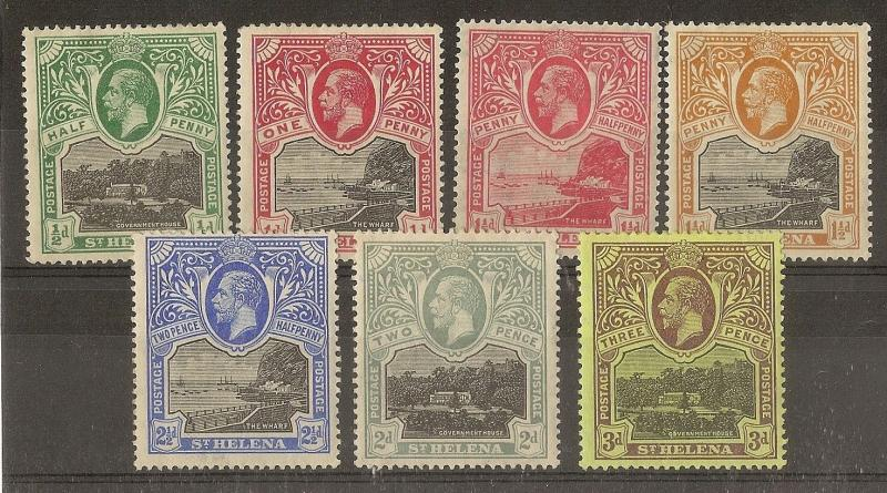 St Helena 1912 Govt House & Wharf Issues Mint (7v)