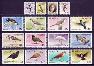 St. Kitts - Scott #49//66 - Short set - MNH - Vertical crease #56 - SCV $18