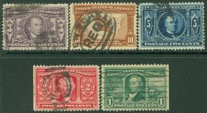 EDW1949SELL : USA 1904 Scott #323-27 Used. Light cancels. Minor faults. Cat $84.