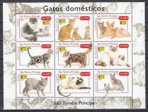 St. Thomas, 2004 issue. Domesticated Cats sheet of 9.