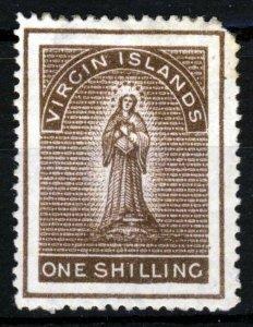 VIRGIN ISLANDS Queen Victoria 1889 One Shilling Sepia Wm Crown CA P14 SG 40 MINT
