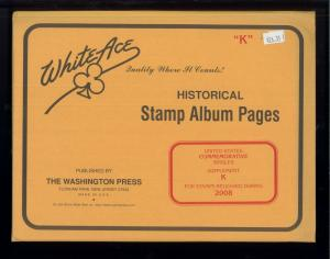 2008 White Ace United States Commemorative Singles Stamp Album Supplement K