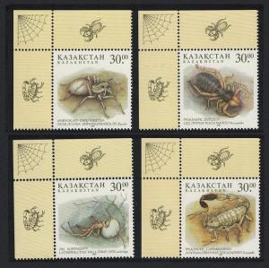 Kazakhstan Spiders Scorpio Arachnidae 4v Top Left Corners SG#188-191 MI#192-195